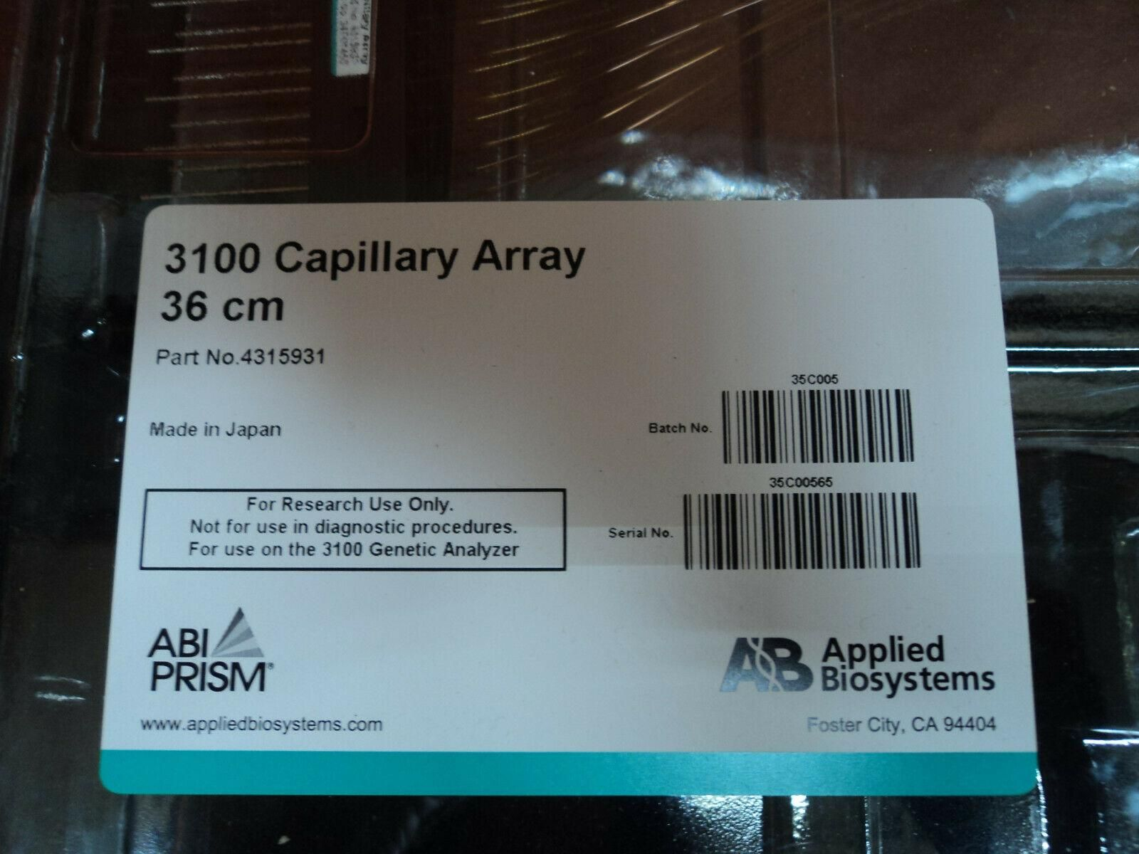 Thermo Applied Biosystems 3100 Capillary Array, 36 cm #4315931 ABI Prism