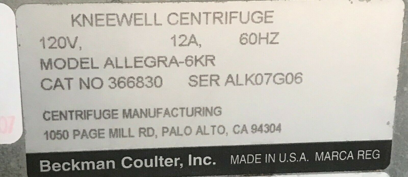 Beckman Coulter Allegra 6KR Centrifuge