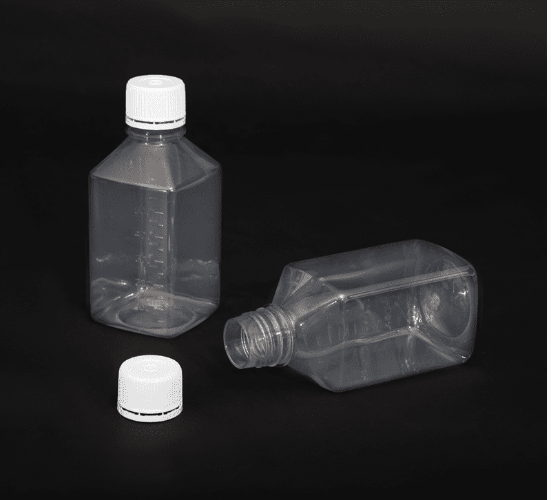 500ml Square Media Bottles with Tamper Evident Cap - Sterile