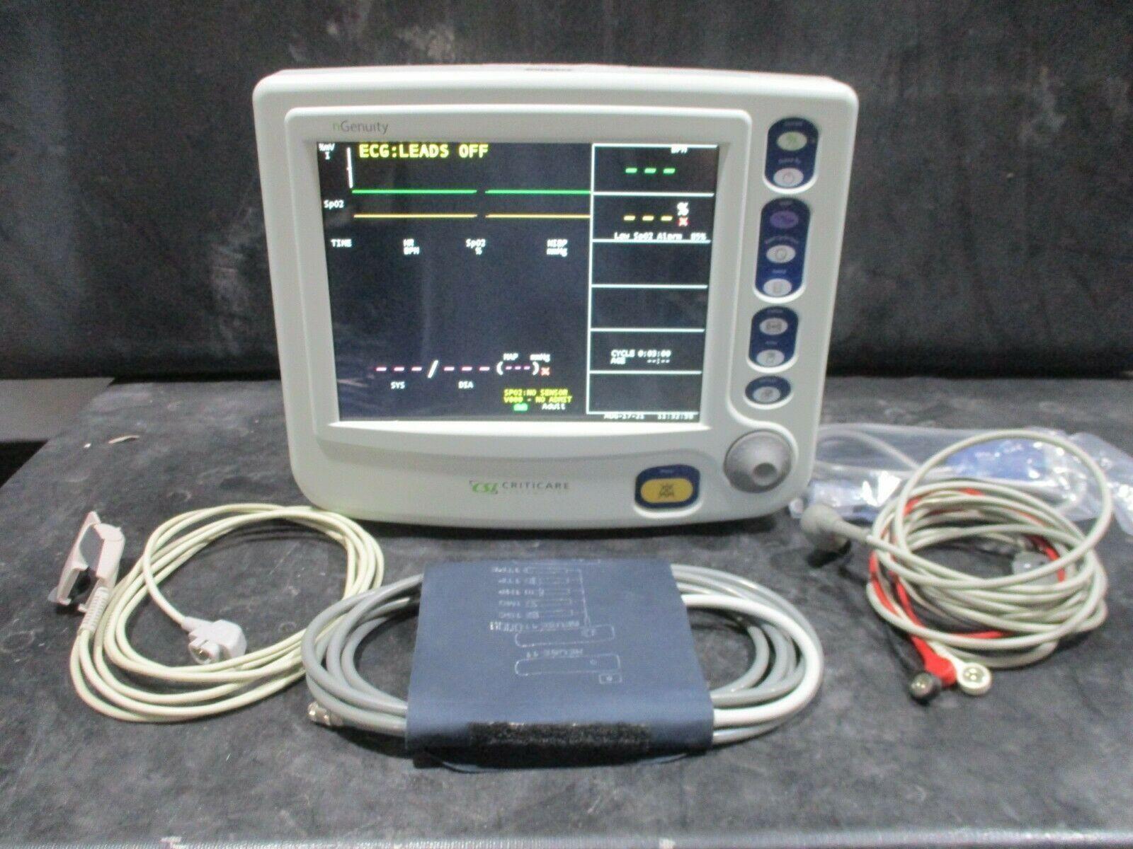 CSI Criticare nGenuity 8100EP1 Monitor, CO2 BP, SpO2 Sensor, EKG Leads, Printer