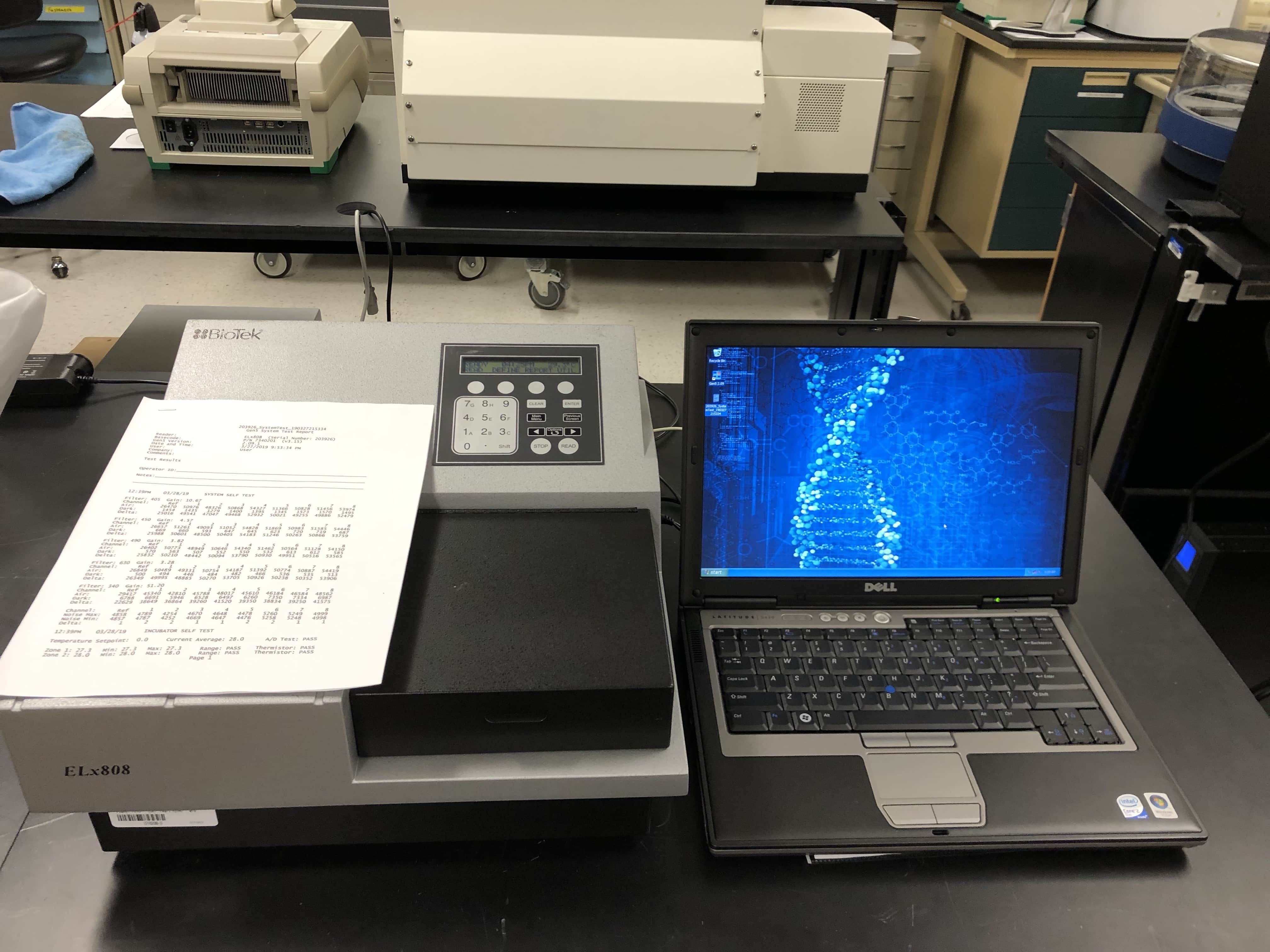 BIOTEK ELX808IU 96 well ABS MicroPlate Reader System w/ GEN5 Anayisis SW, Incubation-New PM testing