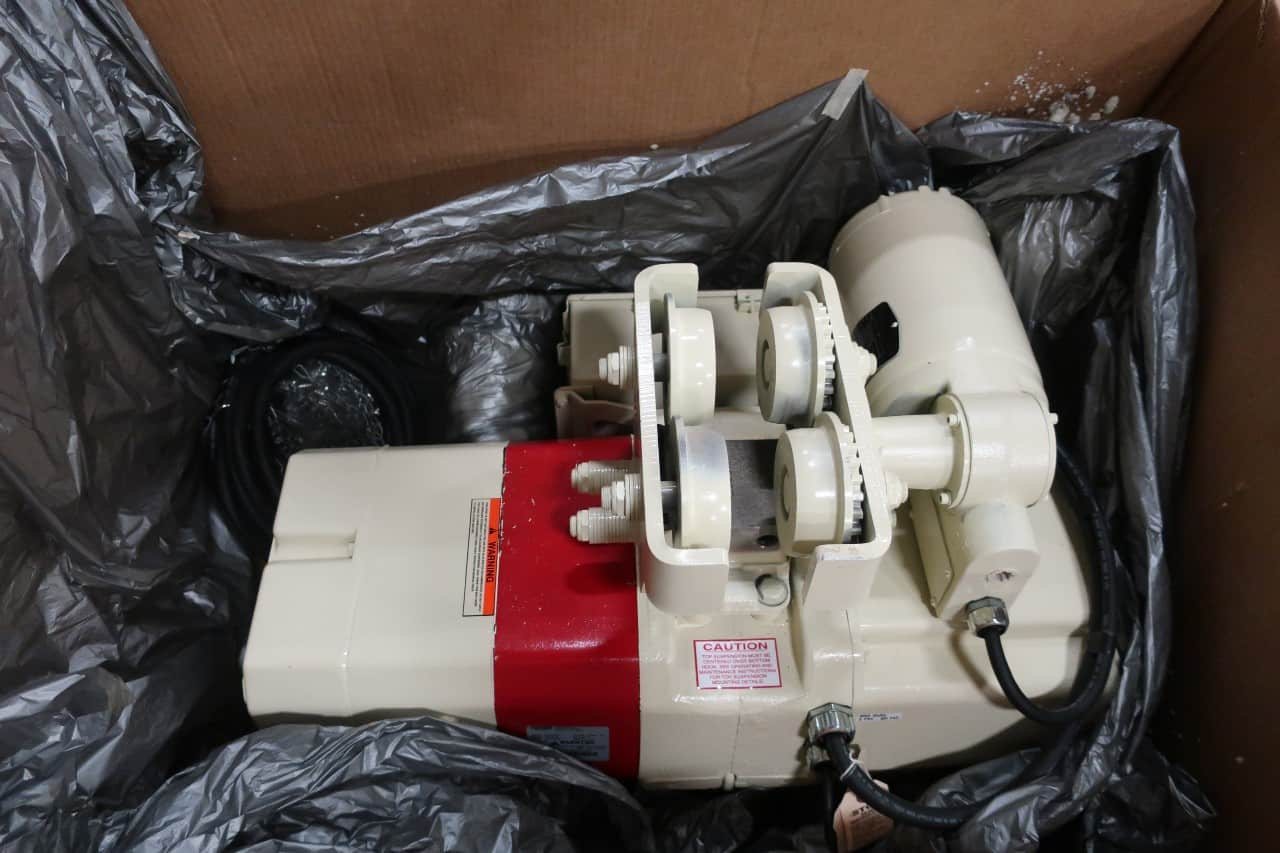 Unused 1 ton Coffing electric hoist SSECMT2016-4-22,** LARGE FRAME EC3 UNIT ** with 2 hp, 2-SPEED (16/5.3 FPM) duty clean/food