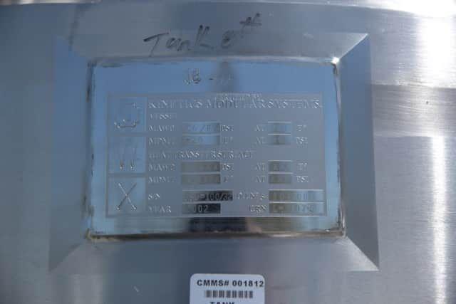 800 Litre Capacity Pharmaceutical Grade Reactor Rated 50 PSI/Full Vacuum at 300 F