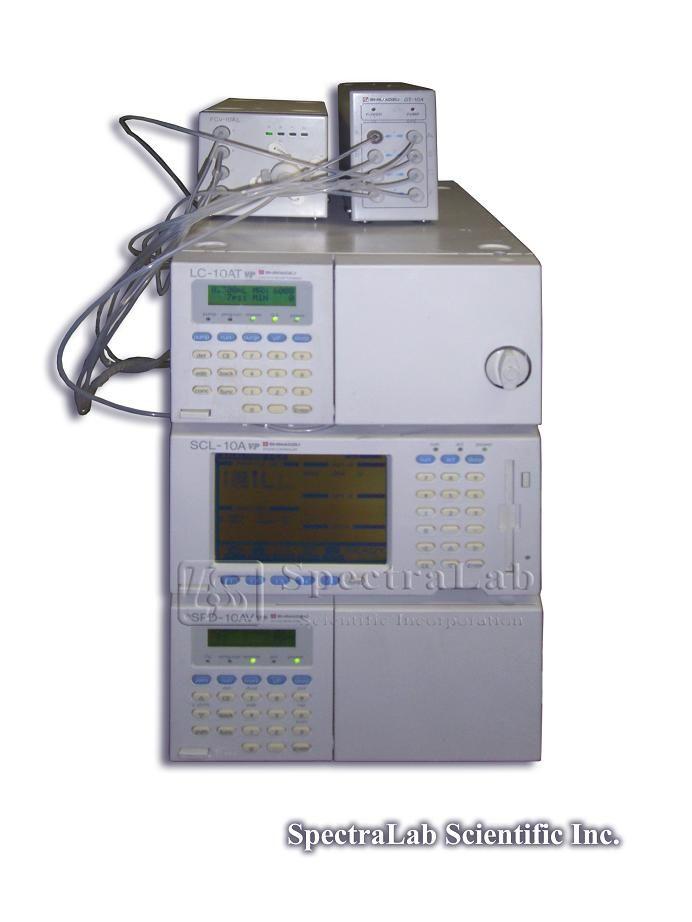 Shimadzu VP HPLC System with LC-10AT, SCL-10A, FCV-10AL, GT-104 and SPD-10AV UV/Vis Detector