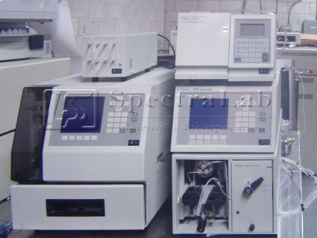 Waters HPLC system with 600 Pump, 717 Plus Autosampler, 2487 Dual λ Absorbance Detector and De