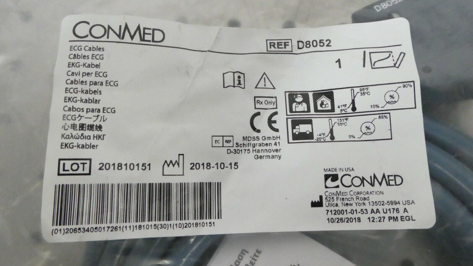 R166630 Conmed 10 Lead Individually Shielded ECG E