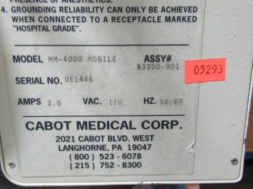 T175603 Cabot Medical Cryomedics MM-4000 Mobile Co