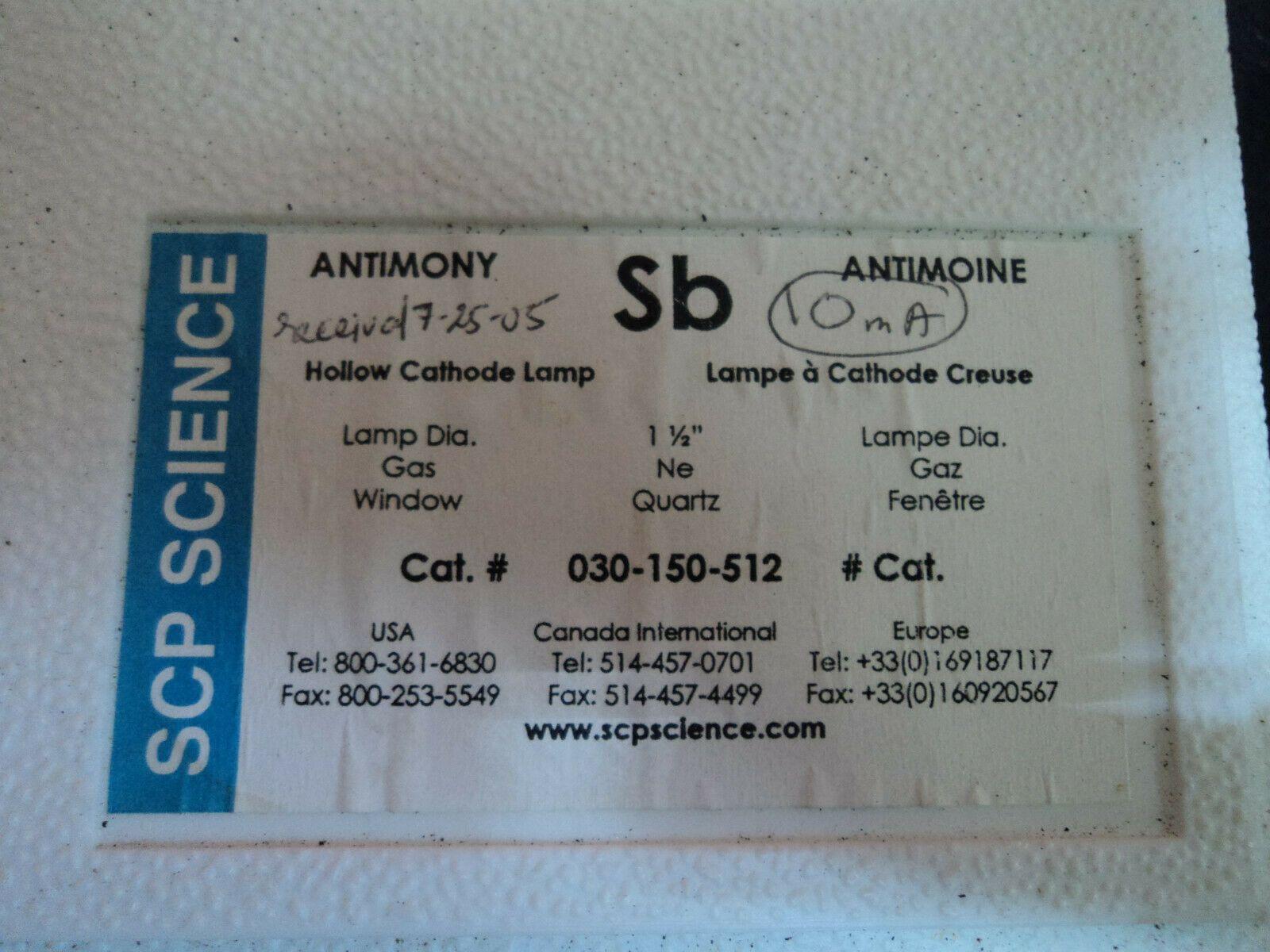 SCP Science Hollow Cathode Lamps Sb Mo Fe Hg Tl Ba
