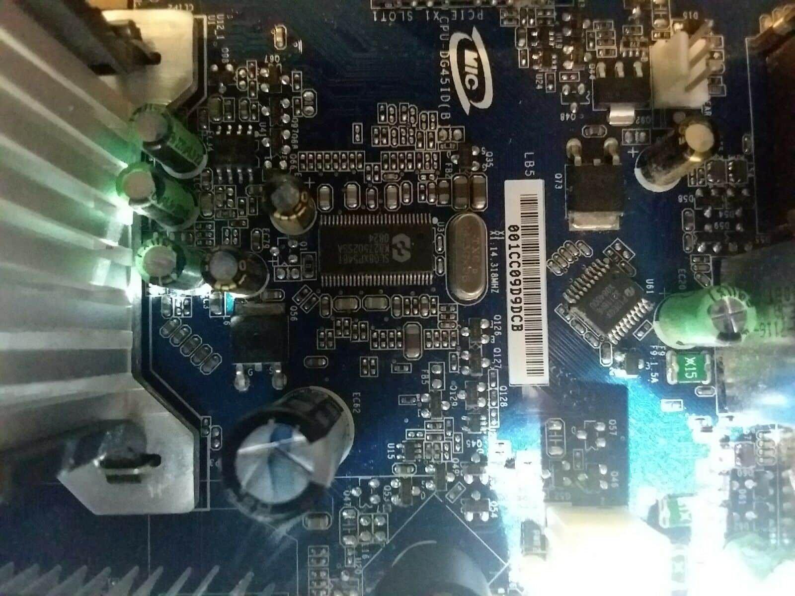PC Used INTEL G45 Intel motherboard DG45ID w/ CPU & FAN p1 k1