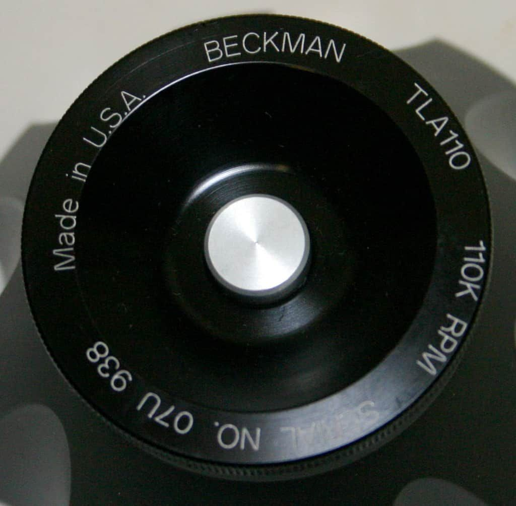 BECKMAN ULTRACENTRIFUGE FIXED ANGLE TITANIUM ROTOR, MODEL TLA-110, 8 X 5.1 ML