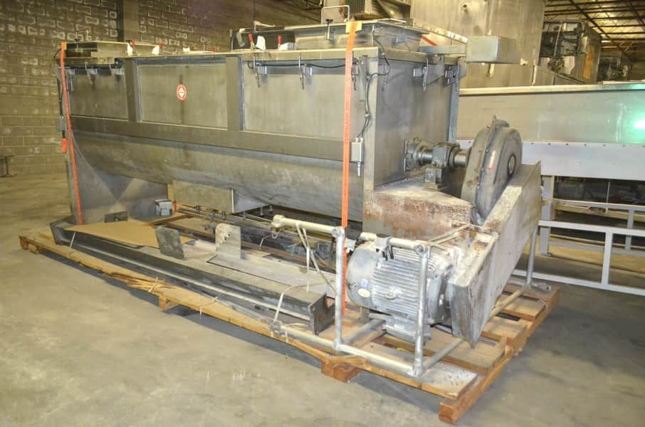 120 Cu.Ft. S. HOWES Stainless Steel Ribbon Blender with choppers from Food Production with optional discharge hopper with screw conveyor.