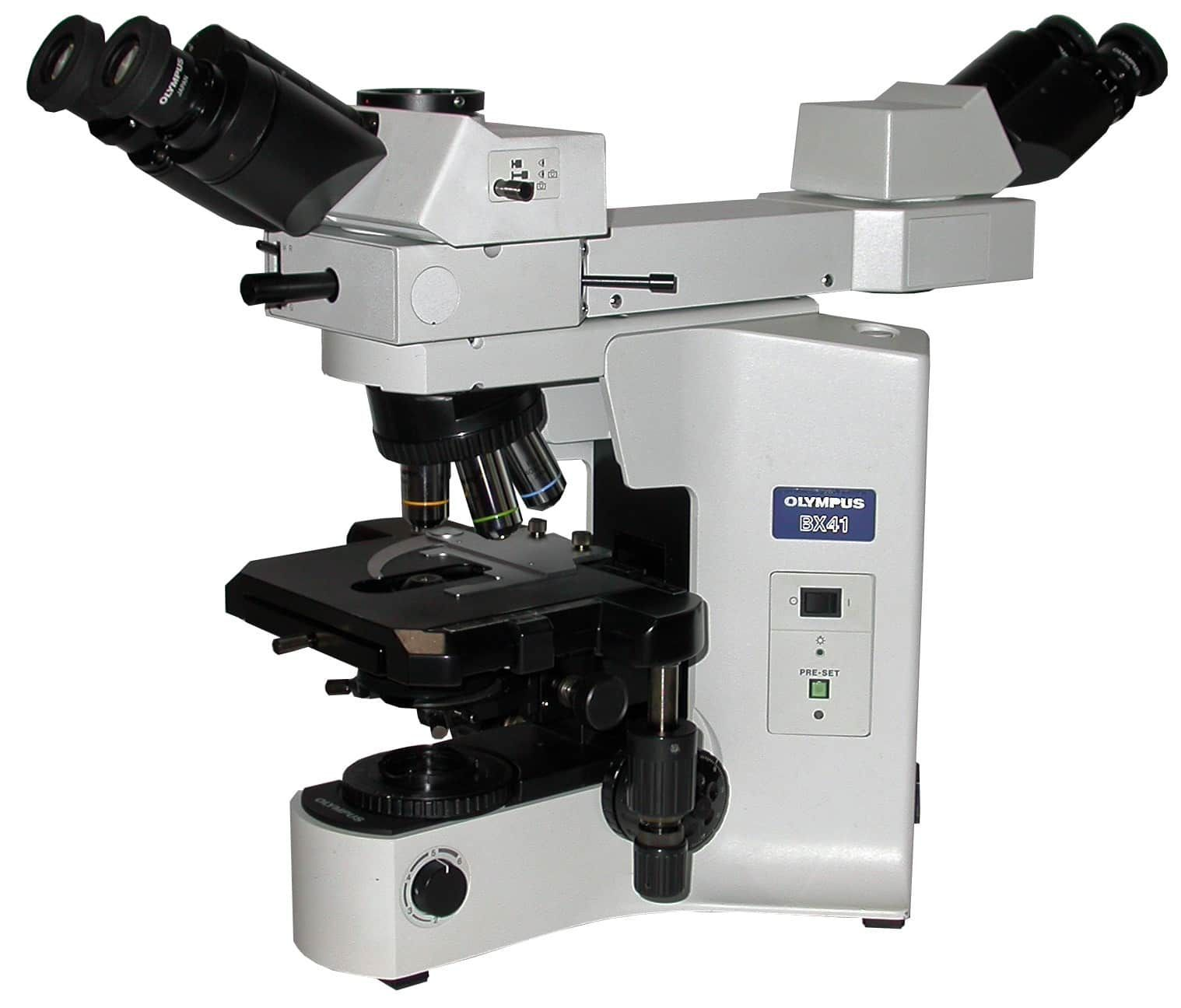 OLYMPUS BX41 DUAL HEAD FRONT TO BACK DISCUSSION MICROSCOPE WITH PLAN 4X, 10X, 20X, 40X & 60X OBJECTIVES