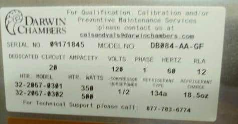 Darwin Chambers Incubator Model DB084-AA-GF