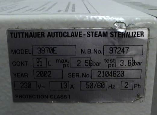 Tuttnauer Brinkmann 3870E Autoclave Steam Sterilizer with Printer