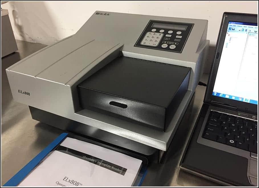 Bio-Tek Elx808 Microplate Reader 405 450 490 630 430nm COMPLETE w WARRANTY