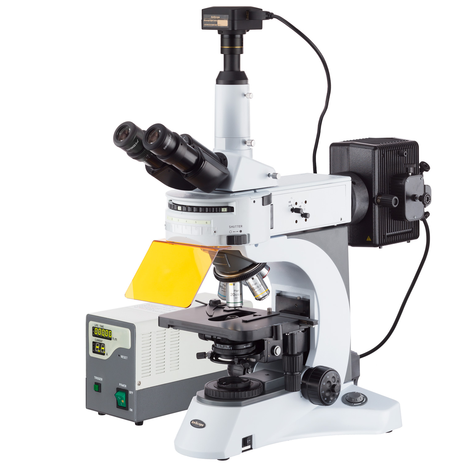AmScope 40X-1000X Upright Fluorescence Upright Microscope