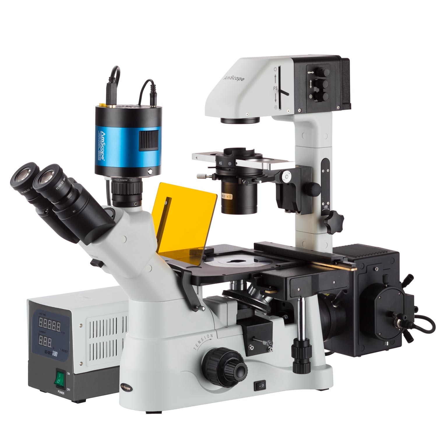 AmScope Inverted Phase-Contrast Fluorescence Microscope