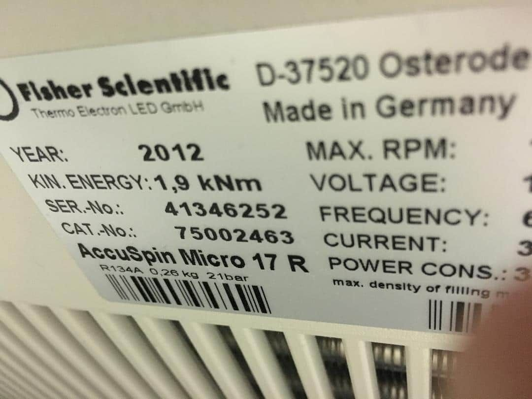 Fisher Scientific Accuspin Micro 17R  refrigerated centrifuge yr 2012