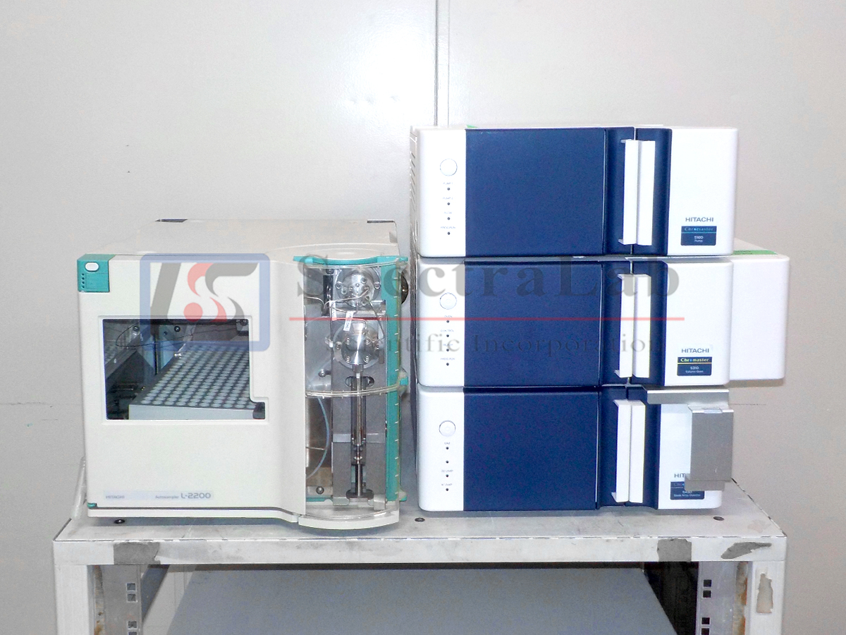 Hitachi Chromaster HPLC System, includes 5430 DAD, 5310 Column Oven, 5160 Pump, and Autosampler