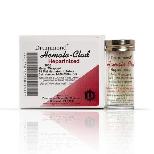 75MM Hematocrit, Heparin,Clad, 200/Vial x 5 Vials/Case
