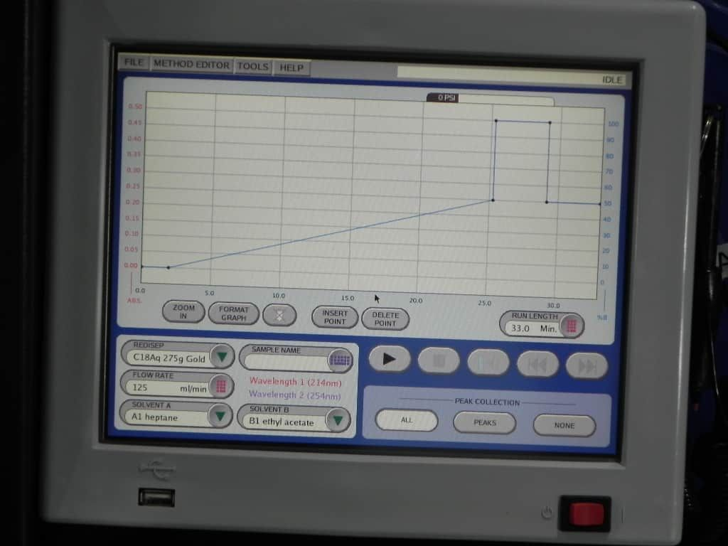 Flash Chromatography: Teledyne ISCO Combiflash RF-200 automated system for normal and reverse phase separations.