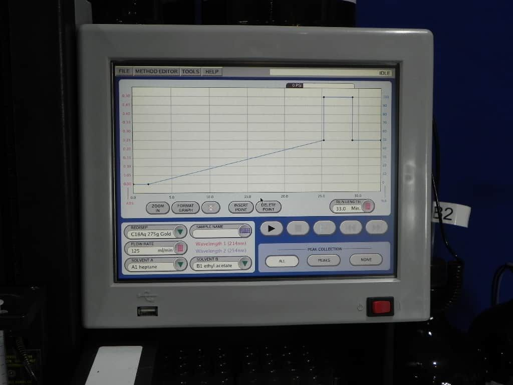 Teledyne ISCO Combiflash RF-200 automated flash chromatography system for normal and reverse phase separations.