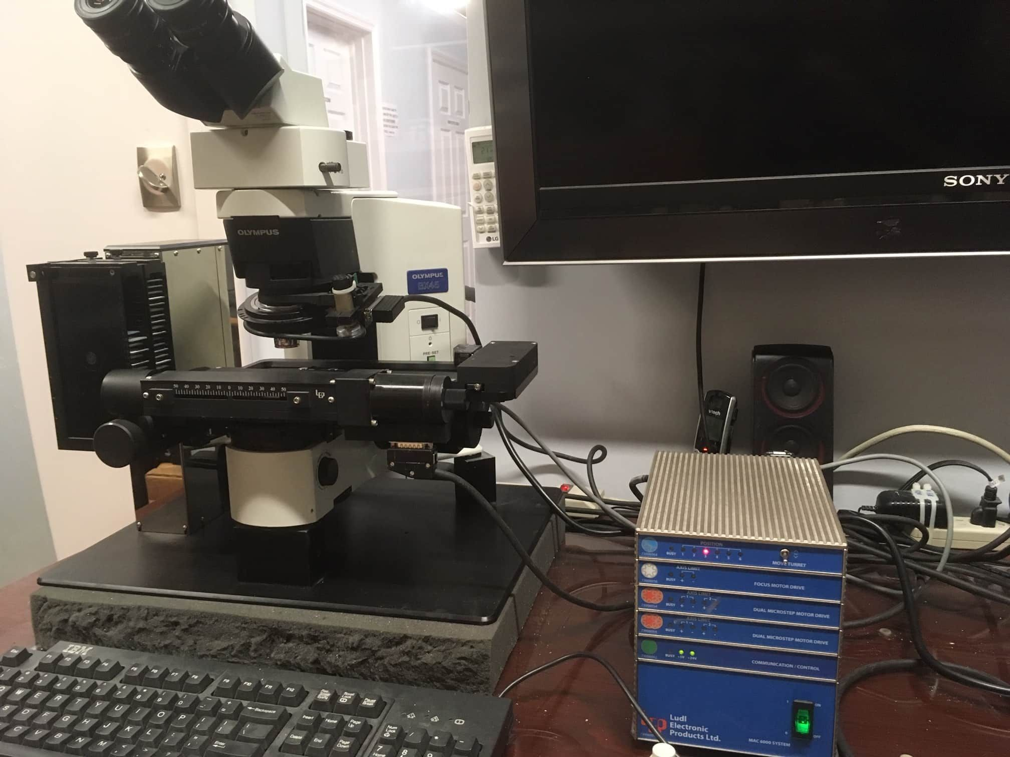 Olympus BX45 microscope system with LUDL SL50 50 specimen loader