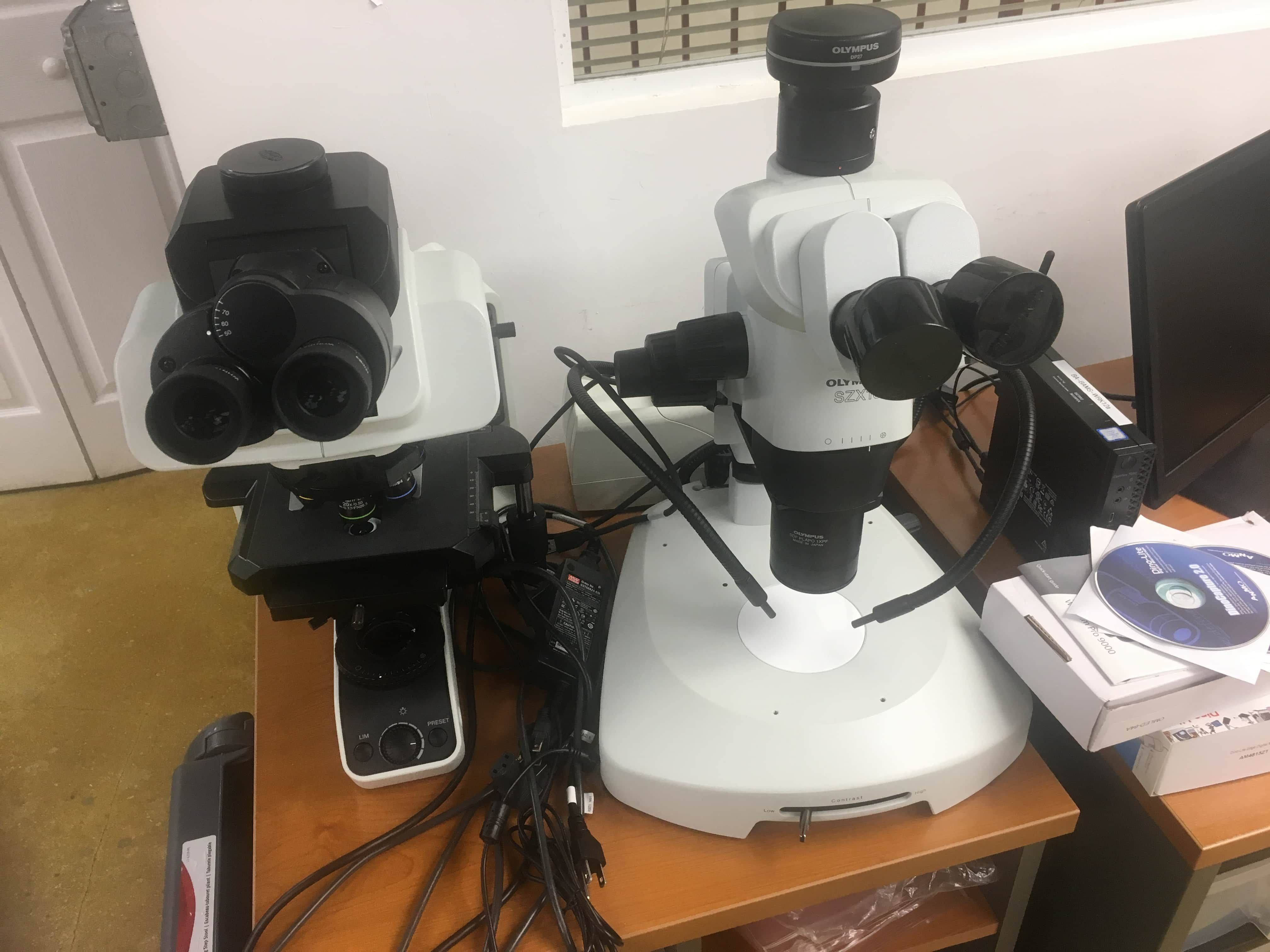 Barely used, well kept Olympus SZX16 Stereo Microscope, BX53 LED Microscope with Polarized Light Accessories and DP27 Digital Camera for sale as a set from Beta Analytic Inc.
