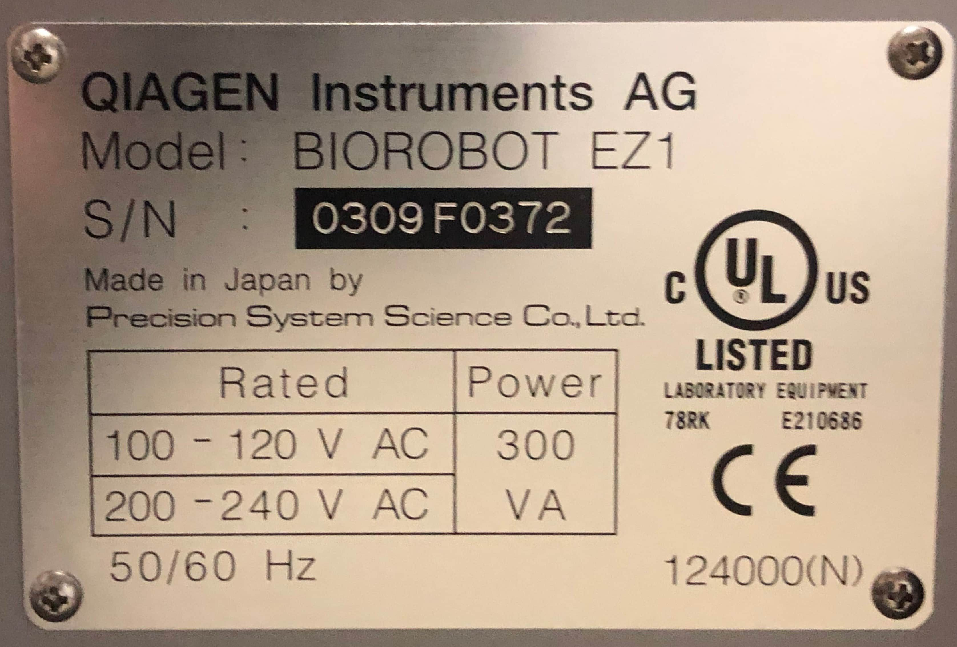 Qiagen BioRobot EZ1  In case