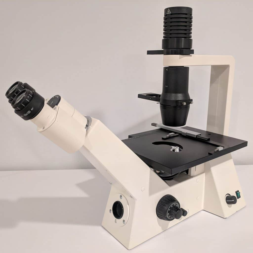 Zeiss Axiovert 40C Trinocular Inverted Phase Contrast Tissue Culture Microscope