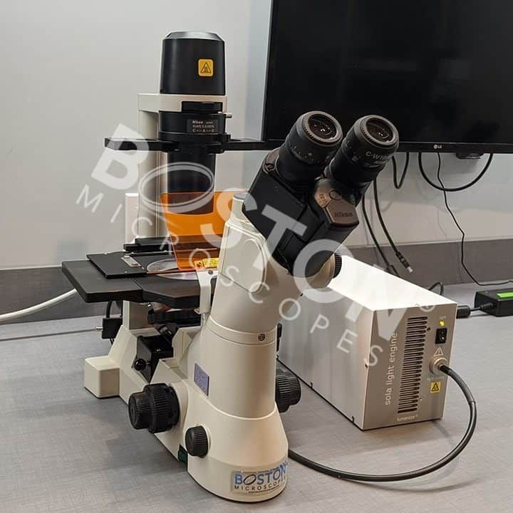 Nikon TS100 Trinocular Fluorescence Phase Contrast Tissue Culture Inverted Microscope