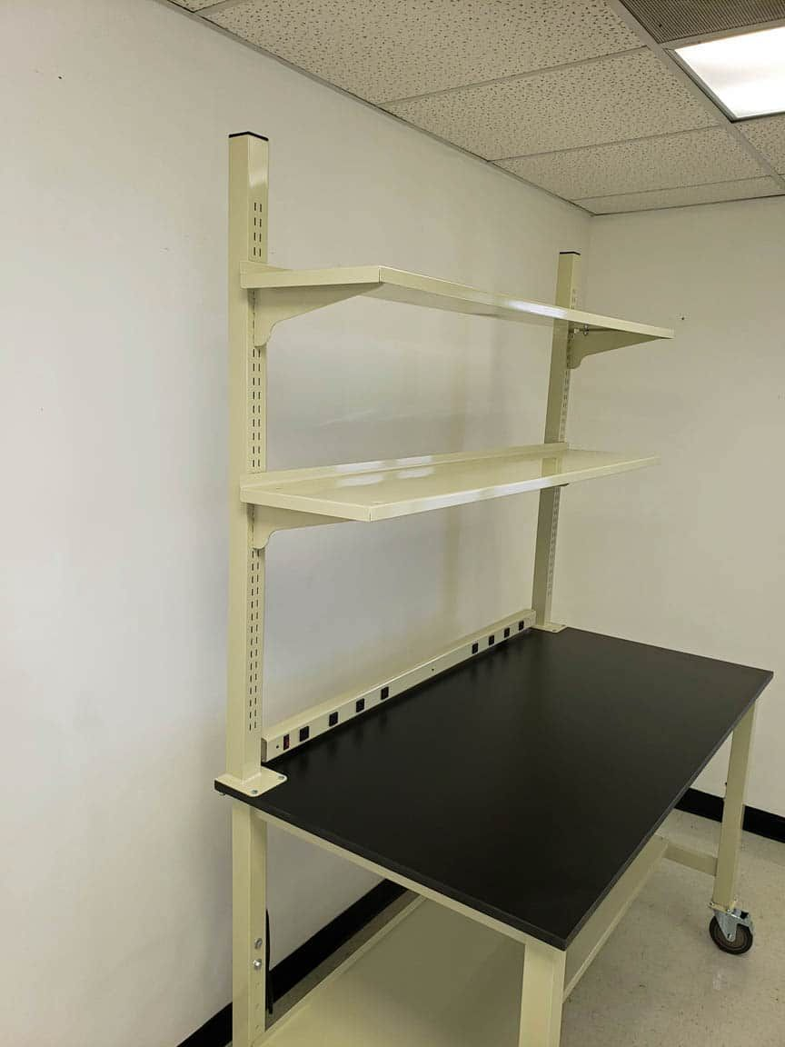 5 foot mobile lab bench with phenolic resin countertop and shelves