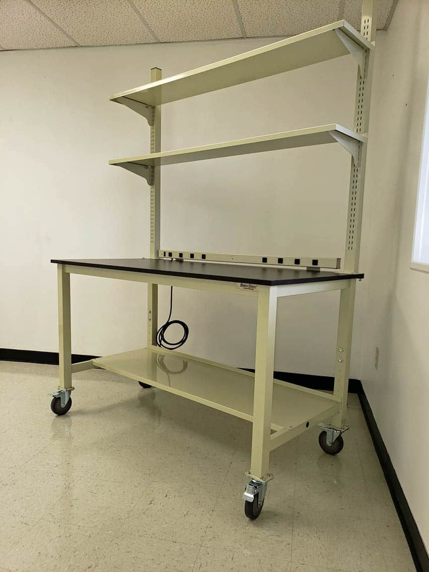 6 foot mobile laboratory bench with phenolic resin top and metal shelves (NEW)