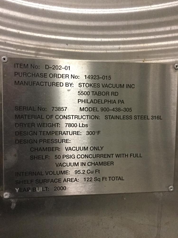 122 Sq Ft Stokes Vacuum Shelf Dryer, 316L S/S