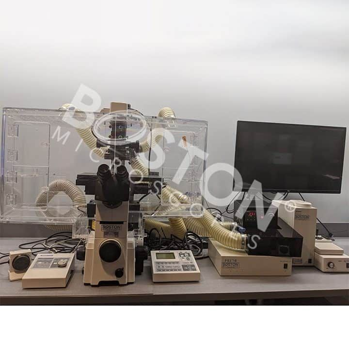 Nikon Eclipse TE 2000-E Motorized Phase Contrast Fluorescence Inverted Microscope with Perfect Focus and Cage Incubator Enclosure