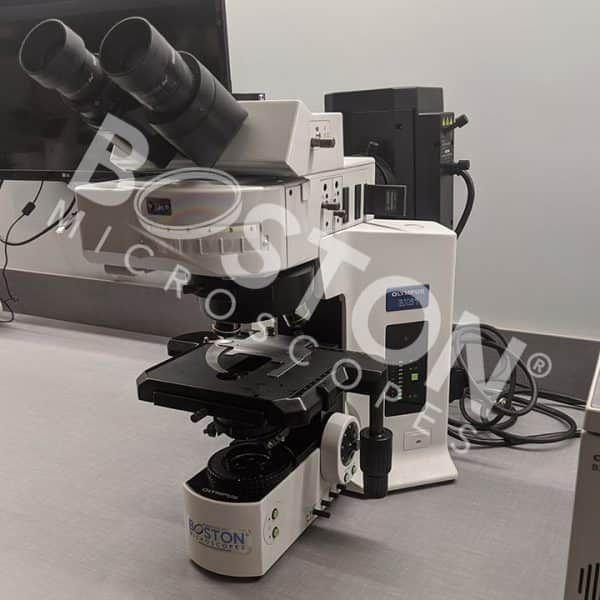 Olympus BX61 Trinocular Fluorescence Motorized Upright Microscope Manual Stage Manual Condenser