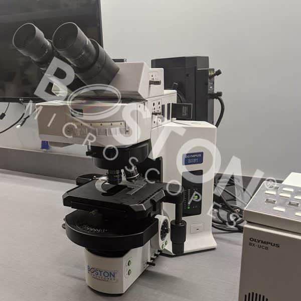 Olympus BX61 Trinocular Fluorescence Motorized Upright Microscope Manual Stage Motorized Condenser