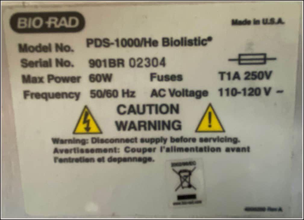 Bio-Rad PDS-1000/He Biolistic Particle Delivery System Gene Gun w WARRANTY