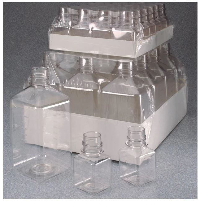 Thermo Scientific Nalgene™ Square PET Media Bottles without Closure: Sterile, Shrink-Wrapped Trays