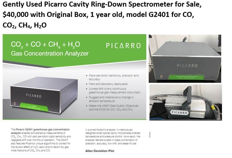 Picarro Cavity Ring-Down Spectrometer, G2401, methane, carbon monoxide, carbon dioxide, water.  Available Immediately.
