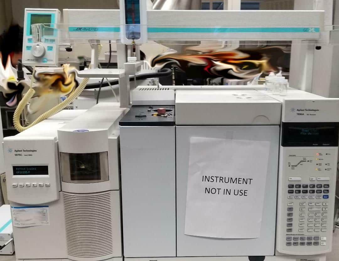 Agilent 7890A Gas Chromatograph with 5975C Series MSD with Computer.