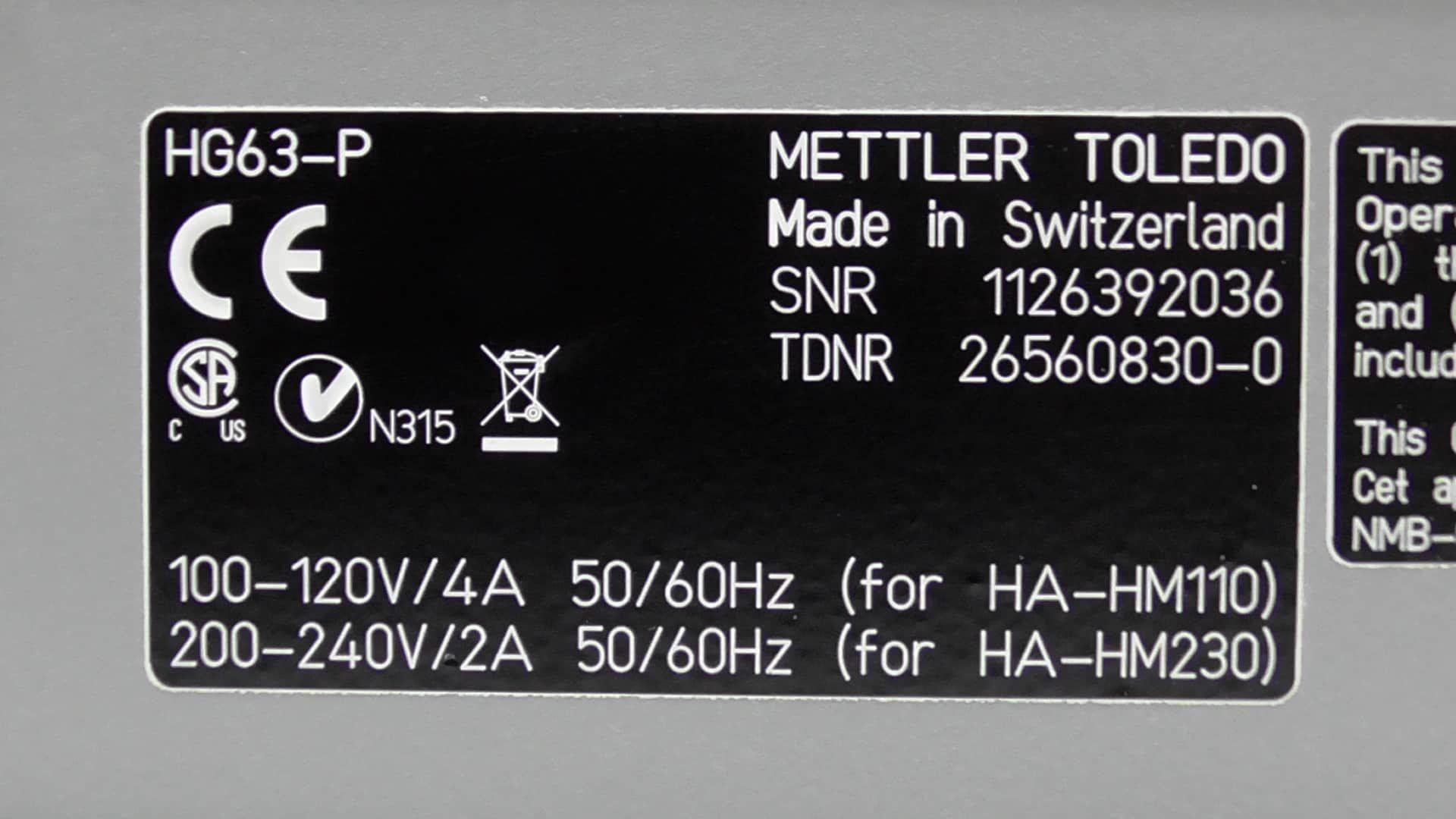 Mettler Toledo HG63-P Moisture Analyzer
