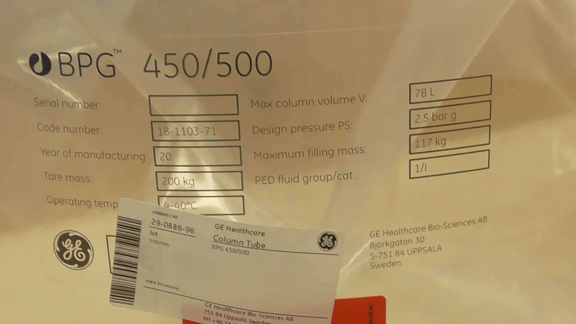 GE Healthcare BPG 450-500 Glass Column