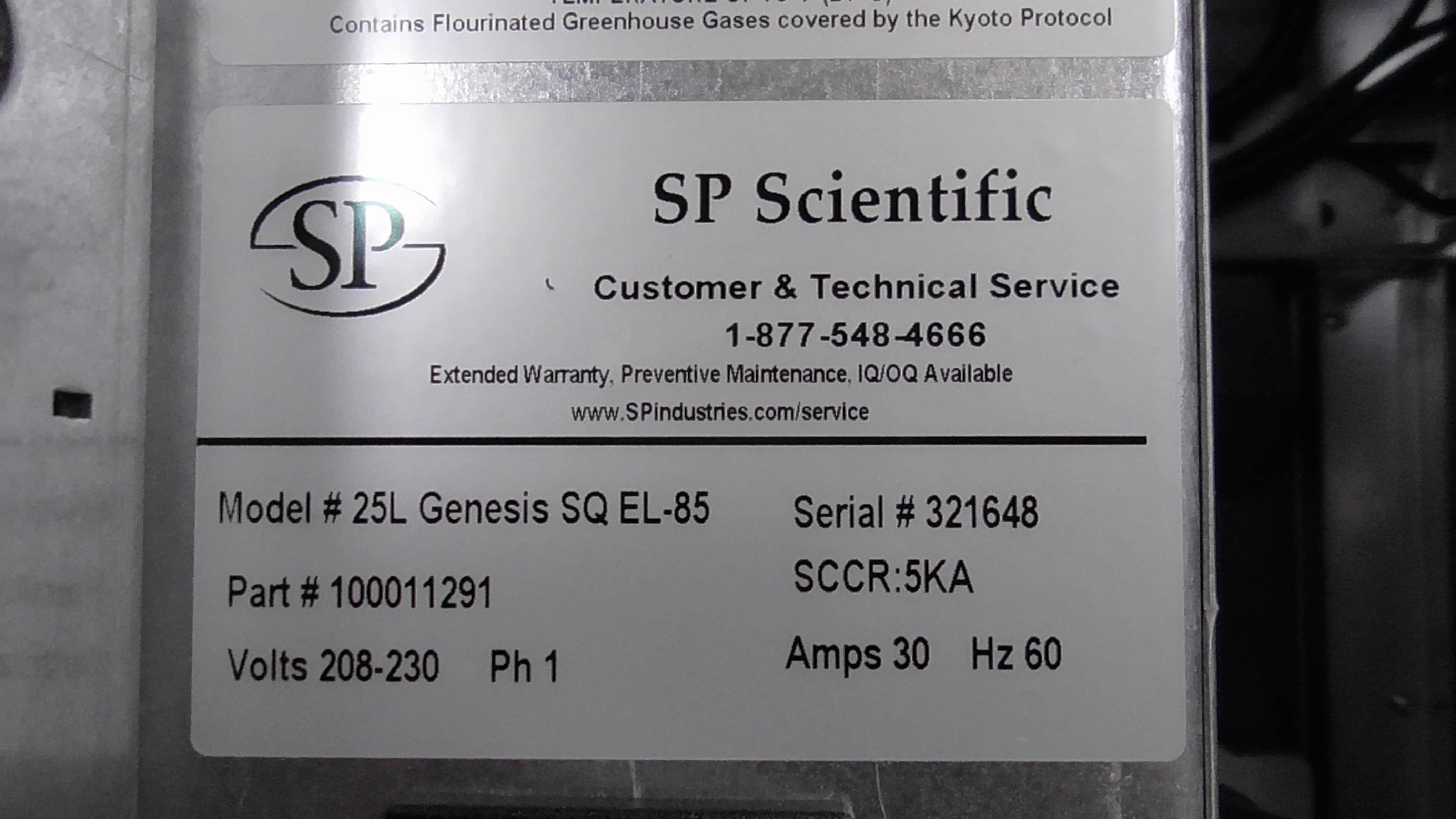 SP Scientific Virtis 25L Genesis SQ EL -85 (Part # 100011291)