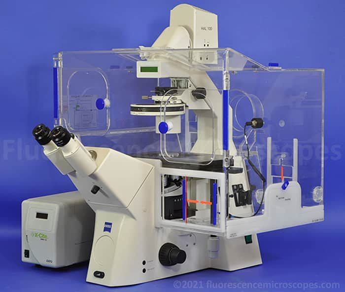 Zeiss Axiovert 200 Inverted DIC Phase Fluorescence Incubation Chamber Microscope