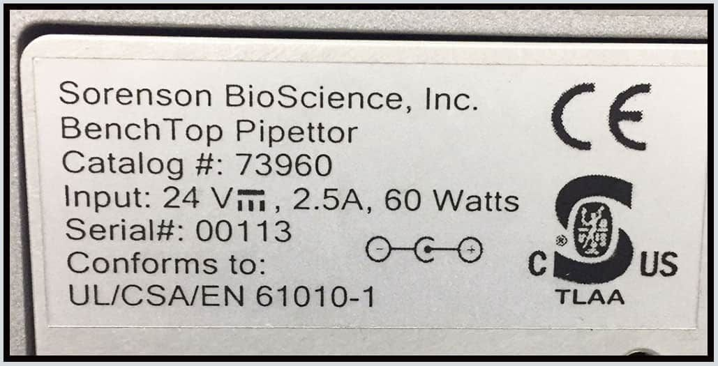 Sorenson BenchTop Microplate Pipettor Pipetting System w WARRANTY