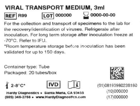 Viral Transport Medium VTM, 3ml fill (swabs sold separately), order by the package of 20, by Hardy Diagnostics