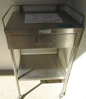Stainless Steel Anesthesia Utility Cart w/Drawer