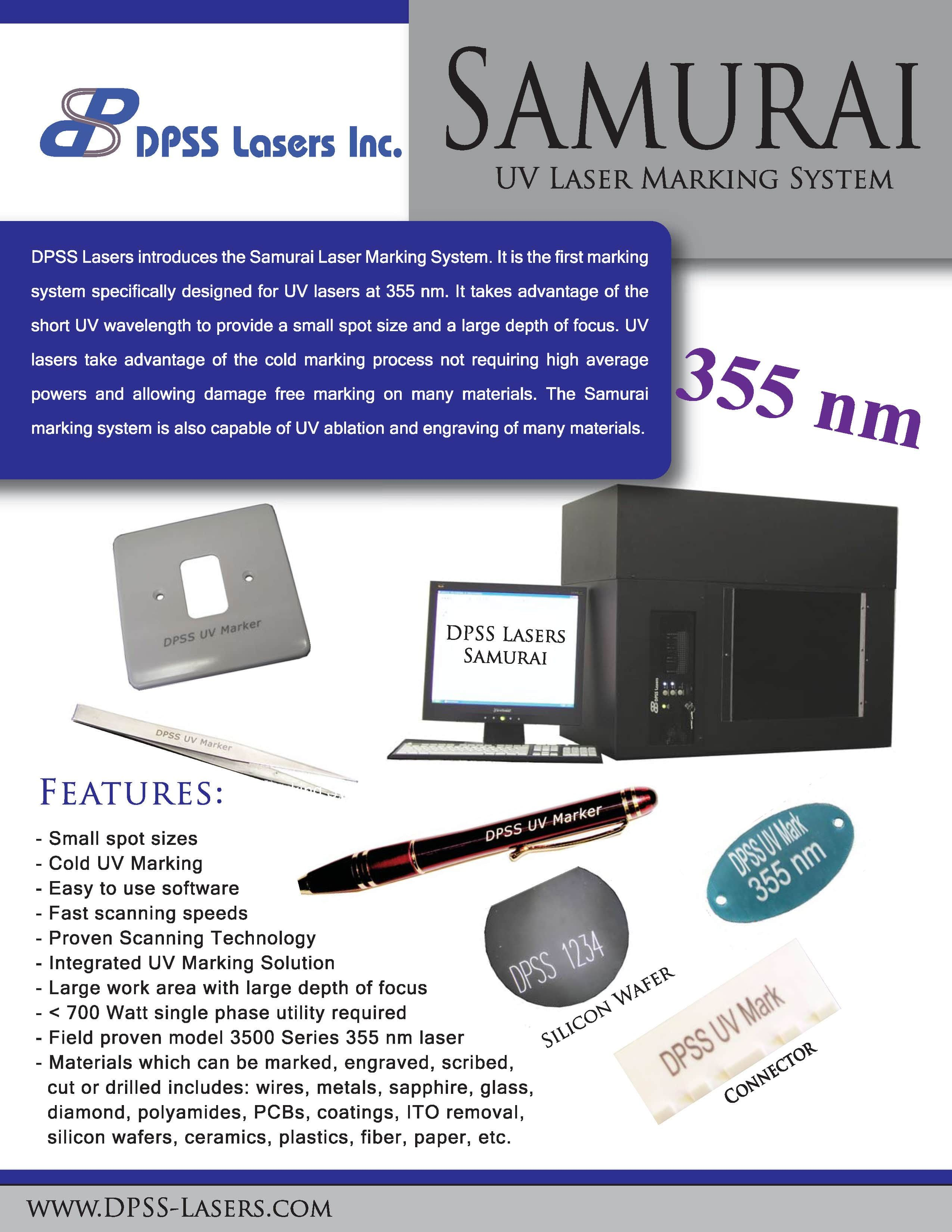 DPSS Lasers Samurai UV Marking System for UV Lasers with Chiller & Computer