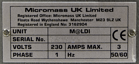 Waters Micromass M@LDI-LR Mass Spectrometer with LR Detectors